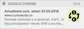 notificare curs valutar